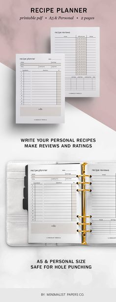 Recipe Planner and Recipe Reviews Spread Printable, Recipe Journal and Recipe Organizer, Cooking Planner Inserts, Minimalist Planner - A5 & Personal Size For Individual Who Loves Minimalistic And Clean Design, Instant Download! #FoodPlanner #MealPlanner #RecipePlanner #RecipeReviews #RecipeJournal #RecipeOrganizer #recipeprintable #recipecard #recipeinsert #cookingplanner