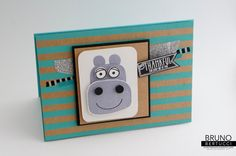 Bruno Bertucci | Stampin Up | stampinbruno | Playful Pals | Pyramid Pals | Shine On | Hippopotamus | Handmade Card