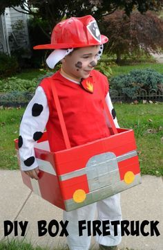 How to make a box into a firetruck! Paw Patrol Costume: Marshall