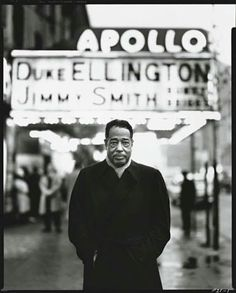 """""""At least one day out of the year all musicians should just put their instruments down, and give thanks to Duke Ellington."""" Miles Davis Duke Ellington at the Apollo, Harlem by Richard Avedon Louis Armstrong, Jazz Artists, Jazz Musicians, Music Artists, Duke Ellington, Glenn Miller, Ella Fitzgerald, Richard Avedon, People"""