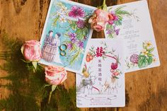 Colorful oriental-inspired wedding invitations // Yongfeng and Reina's Beer Garden-Themed Wedding at Nosh