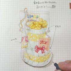 Instagram media by ha_ss - 150128 #hassdiary #2015 #ほぼ日手帳 #hobonichi #イラスト #illust #drawing #お祝い #ありがとう #おむつケーキ