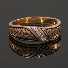 Vintage Mens 14k Yellow Gold and Diamond by JewelryWanderlust
