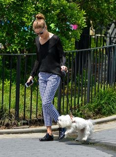 Olivia Palermo Takes Her Dog for a Walk