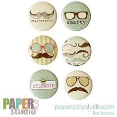 Image of 'Staches and Sunglasses - Set of 6 flair buttons