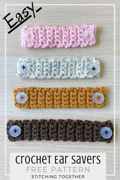 Are you looking for the easiest crochet ear savers for face masks that's beginner friendly? This quick ear saver crochet pattern is what you've been searching for. Crochet Mask, Crochet Headband Pattern, Crochet Faces, Knit Or Crochet, Learn To Crochet, Crochet Crafts, Crochet Stitches, Yarn Crafts, Crochet Projects
