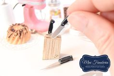 Miniature metal blade knives with wooden stand - handmade Dollhouse 12th scale