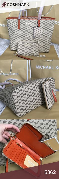 🌴Michael Kors Set🌴 100% Authentic Michael Kors Tote Bag and Wallet, both brand new!.😍😍😍Come with dust bag!.❤️ Michael Kors Bags Shoulder Bags