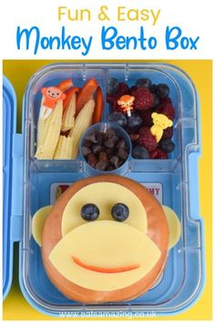 How to make a fun and easy monkey themed bento box with monkey bagel - cute school lunch idea for kids How to make a fun monkey themed bento box! This quick and easy cute school lunch idea for kids is packed in the Yumbox bento box. Bento Box Lunch For Kids, Kids Lunch For School, Lunch Snacks, School Lunches, Box Lunches, Kid Snacks, Easy Packed Lunch, Fun Foods To Make, Toddler Lunches