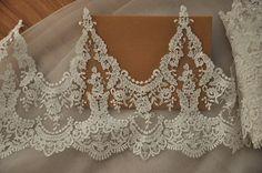 Alencon lace trim in ivory for wedding veil bridal by Retrolace