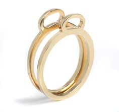 14K Gold plated noose statement stackable flat ring, 14K Gold Filled noose statement flat Ring