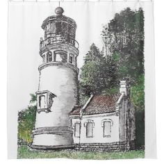 Heceta Head Lighthouse Shower Curtain - shower gifts diy customize creative