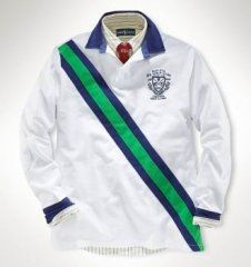 1014 Ralph Lauren para hombres de algodón de Rugby en Blanco / Verde