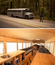 Beautifully Simple: School Bus Turned Minimal Mobile Home School Bus Camper, School Bus House, Rv Bus, Mobile Living, Mobile Home, Glamping, Bus Remodel, School's Out Forever, Converted School Bus