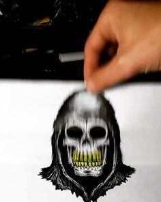 Creepy Art, Skull Art, Dark Art, Weird, Horror, Halloween Face Makeup, Sketches, Artist, Fictional Characters