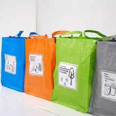 Use matching plastic-coated shopping bags with flat bottoms and sturdy handles to sort, store, and transport recycling items. Line up the bags on a deep shelf in your garage or utility room. Recycling Storage, Recycling Center, Recycling Ideas, Plastic Recycling, Reduce Reuse Recycle, Organizing Your Home, Organizing Ideas, Reusable Bags, Clever Diy