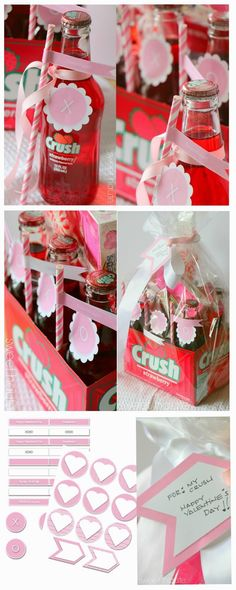 Valentine's CRUSH with Valentines Day FREE Printables straw flags, cupcake bottle topper decor, gift tags, lollipop labels by SWEET HAUTE. Pin now...read later!!