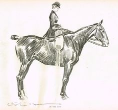 """Gibson Girl Sketch - """"IN THE ROW"""" - Lithograph Sketch - 1907"""