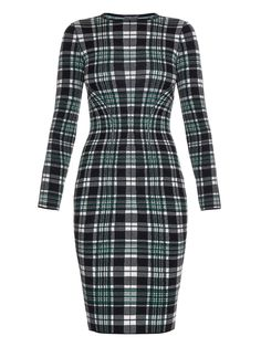Engineered tartan-check wool pencil dress | Alexander McQueen | MATCHESFASHION.COM