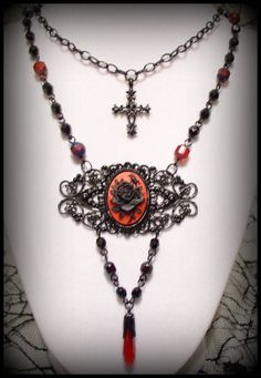 DESDEMONA Black  Red Gothic Victorian Filigree Layered Rose Cameo Necklace with Czech Cathedral Glass Beads by Blood Flowers Jewelry