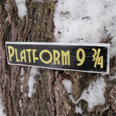 Platfrom 9 3/4 Distressed Wooden Sign  Made to by CurioObscurio, $19.00