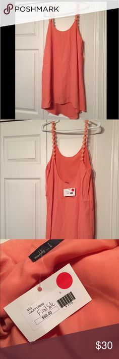 Pink open back dress Light pink open back dress! Never worn-new with tags! There are flowers as the straps. Dresses Backless