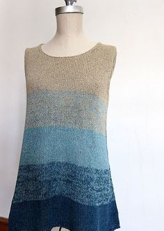 Via Ravelry: Ombre Tank - free knitting pattern by Espace Tricot.