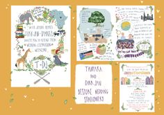 Hand drawn, Illustrated, bright and beautiful bespoke wedding illustration from The Story House