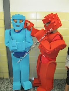 Homemade Rock'em Sock'em Robots Couple Halloween Costume at the School Party: After searching everywhere for a great costume for my twin 8-year old boys, I was very fortunate and found coolest-homemade-costumes.com.  I was thrilled