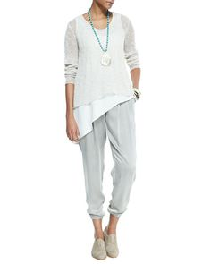 Yet more of Eileen Fisher's silk charmeuse ankle pants from Neiman Marcus