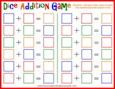 The Scrapbooking Housewife: Dice Addition Game for Kids - Free Printable!