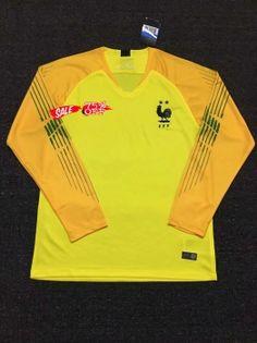 dc91425dc3d 2018 Cheap Goalie Jersey France 2 Stars LS Yellow Replica Soccer Shirt  [DFC108] Soccer