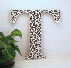 Letter T   Wooden Initial Wall Letter   Wood Letter Wall Decor   Wooden  Letter   Wedding Reception Decor   Baby Girl Letter   Nursery Decor.