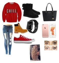 """""""CHILL!!"""" by nelson-iv ❤ liked on Polyvore featuring UGG Australia, Timberland, Converse, Michael Kors and Charlotte Tilbury"""