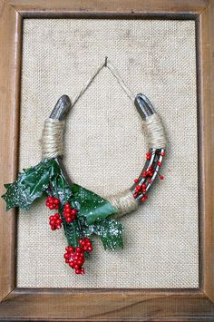 Christmas Holly Horseshoe