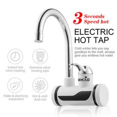 Tankless Electric Instant Hot Water Heater Faucet Bathroom Kitchen Mixer Tap for sale online