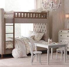Use bunk beds in small spaces because they take up the least amount of floor space. You can find some amazing upholstered bunk beds that are soft and pretty. — Nest Design Co. Twin Bunk Beds, Kid Beds, Luxury Nursery, Restoration Hardware Bedding, Big Girl Rooms, Bedroom Decor, Bedroom Rustic, Decoration, Arquitetura