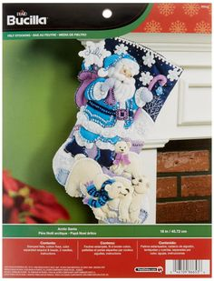 Amazon.com: Bucilla 18-Inch Christmas Stocking Felt Applique Kit, 86653 Arctic Santa
