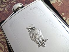 Silver Owl Flask Victorian Flask Silver Flask by CosmicFirefly, $65.00