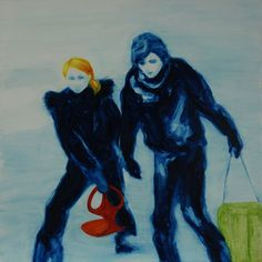 "Great oil paintings from painter Melissa Wraxall at http://www.melissawraxall.com/index.html ""Snow kids"", oil on canvas, 20 x 20cm, 2015 ©Melissa Wraxall"