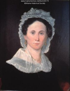 Oil painting of Mary Frances Woodford (1788-1871) done in about 1825. She was married to Ebenezer Woodford, who lived in Westbrook in 1820. Item # 20175 on Maine Memory Network