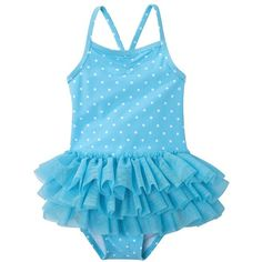 Circo Girls Infant Toddler Girls One-Piece Ruffle Swim Suit Blue ($14) ❤ liked on Polyvore featuring baby, baby girl clothes, baby clothes, baby girl and children