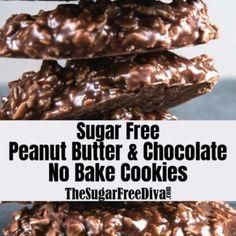 Chocolate No Bake Cookies, Sugar Free Chocolate Chips, Chocolate Cookie Recipes, Sugar Free Peanut Butter, Sugar Free Baking, Sugar Free Recipes, Breakfast Bake, Breakfast Cookies, Snack Recipes