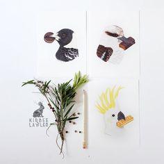Birdy All Sorts in Neutrals Mini Print Set by kirbeeart on Etsy