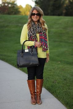 Sweater scarf skinny jeans boots