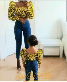 54 Edition of – Shop From These New Aso ebi Lace style & African Print Trend - African fashion Baby African Clothes, African Dresses For Kids, Latest African Fashion Dresses, African Print Fashion, Ankara Fashion, Africa Fashion, Mother Daughter Fashion, Mother Daughter Matching Outfits, Mommy And Me Outfits