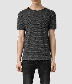 Men's Figet Stripe Crew T-Shirt (Black Flame/Black) -