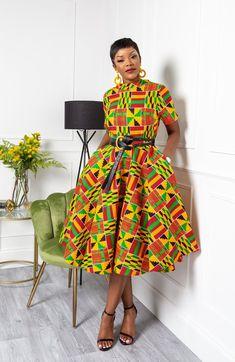 Midi Dress With Belt Beautiful Ankara Styles, Trendy Ankara Styles, Ankara Gown Styles, Ankara Dress, African Fashion Ankara, Latest African Fashion Dresses, Latest Dress, Roll Neck Dress