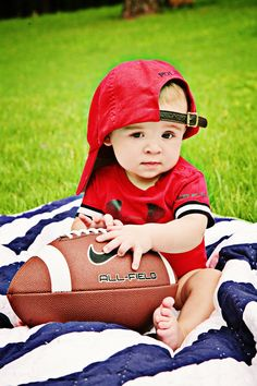6 month boy photography football red white blue