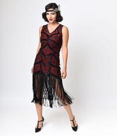 Iconic by UV Black  Red Beaded Mesh Isadora Fringe Flapper Dress $268.00 AT vintagedancer.com